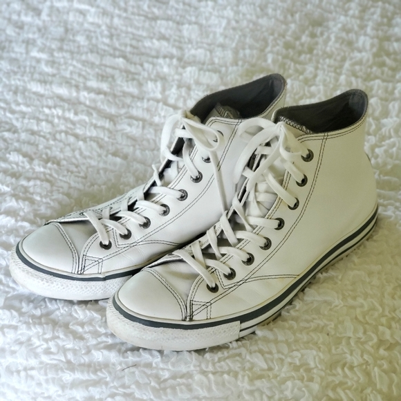 Converse mens white leather hi tops size 12